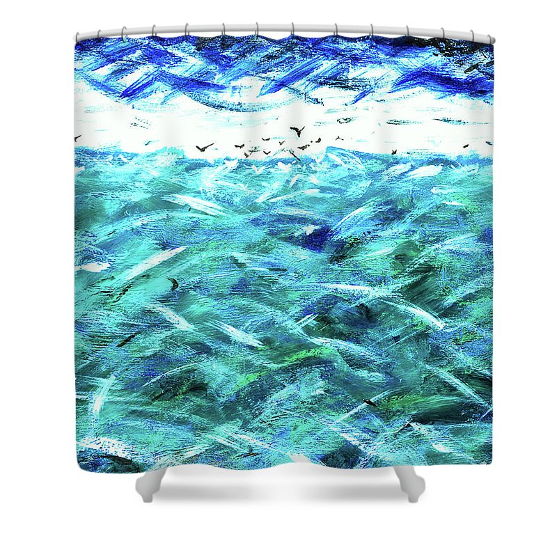When The Sky Plays With The Sea Shower Curtain featuring the painting When The Sky Plays With The Sea by David Lee Thompson