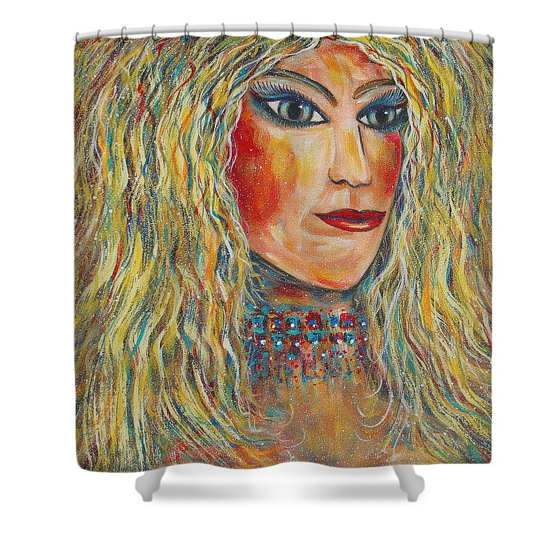Nude Shower Curtain featuring the painting Wild Jungle Woman by Natalie Holland