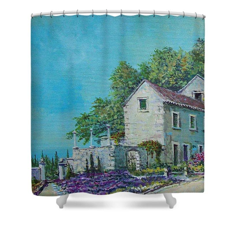 Original Painting Shower Curtain featuring the painting Village Vista by Sinisa Saratlic