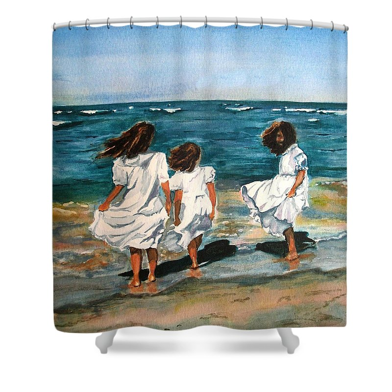 Girls Shower Curtain featuring the painting Windy Day by Karen Ilari