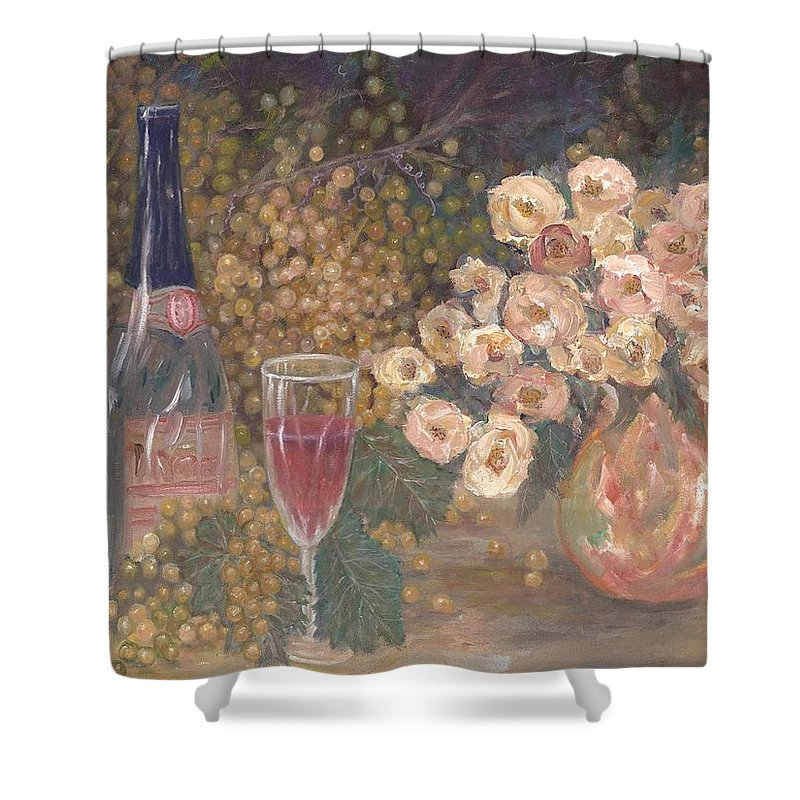 Stilllife; Floral; Wine Shower Curtain featuring the painting Wine And Roses by Ben Kiger