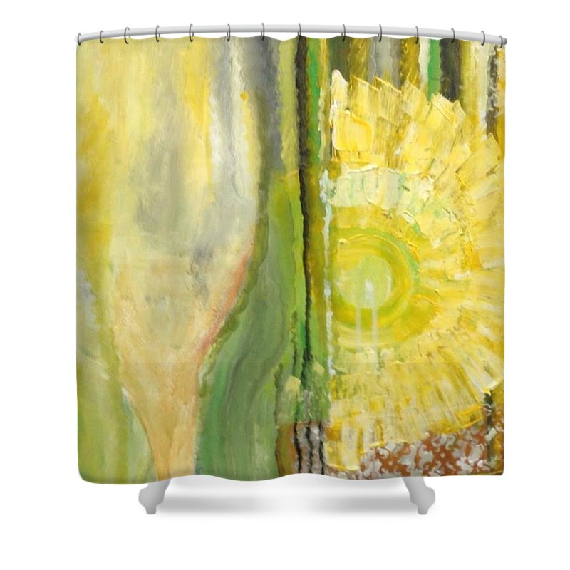 Yellow Shower Curtain featuring the painting Wine or Nature by Carol P Kingsley