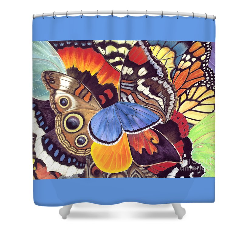 Butterflies Shower Curtain featuring the painting Wings Of California by Lucy Arnold
