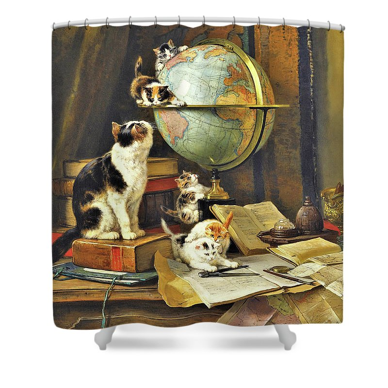 World Traveler Shower Curtain featuring the painting World Traveler - Digital Remastered Edition by Henriette Ronner-Knip