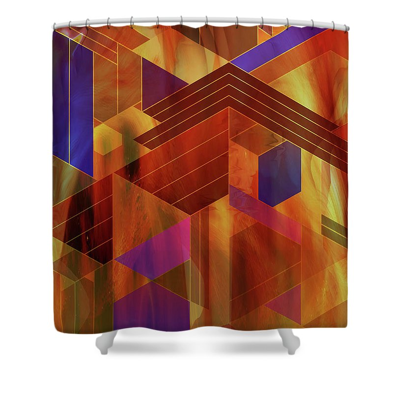 Wrightian Reflections Shower Curtain featuring the digital art Wrightian Reflections by Studio B Prints