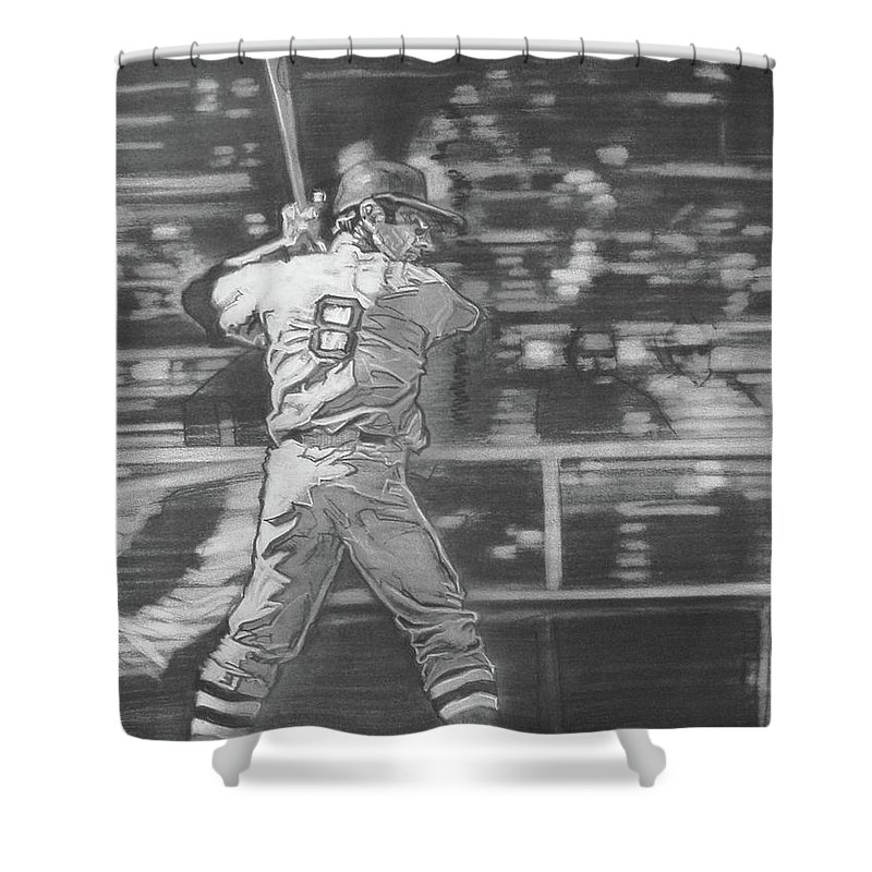 Charcoal On Paper Shower Curtain featuring the drawing Yaz - Carl Yastrzemski by Sean Connolly
