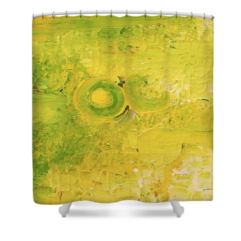In Focus Shower Curtain featuring the painting Yellow dot by Carol P Kingsley