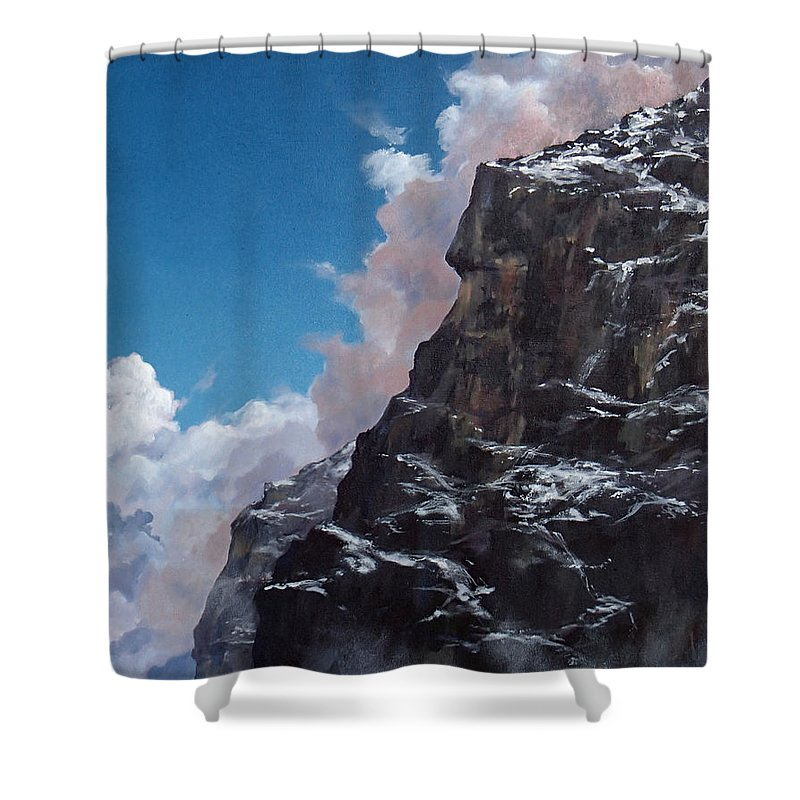 Yosemite Shower Curtain featuring the painting Yosemite cliff face by Philip Fleischer