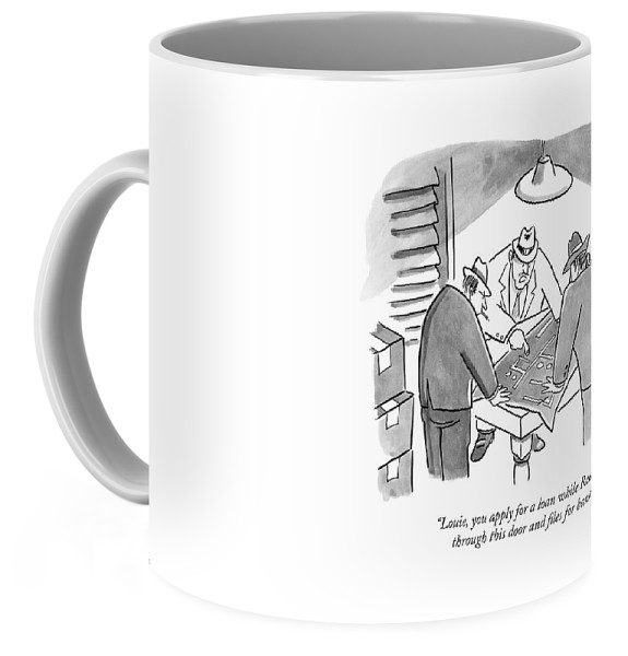 Mobsters examine a blueprint coffee mug for sale by robert leighton right view malvernweather Images