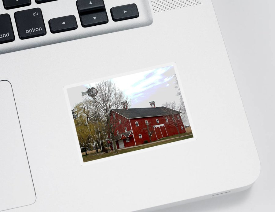 Amish Barn Sticker featuring the photograph Amish Barn and Wind Mill - Allen County Indiana by Suzanne Gaff