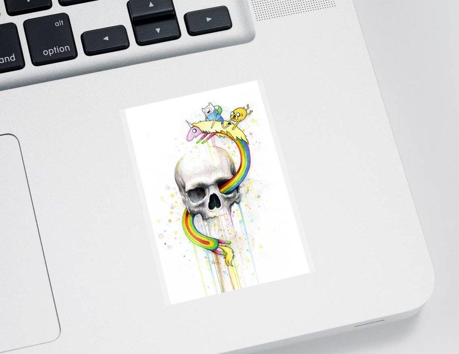 Adventure Sticker featuring the painting Adventure Time Skull Jake Finn Lady Rainicorn Watercolor by Olga Shvartsur