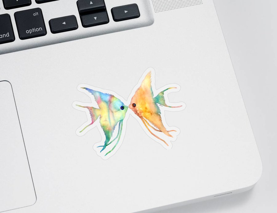 Fish Sticker featuring the painting Angelfish Kissing by Hailey E Herrera