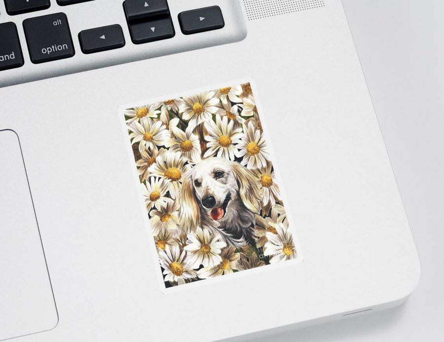 Dachshund Sticker featuring the drawing Camoflaged by Barbara Keith