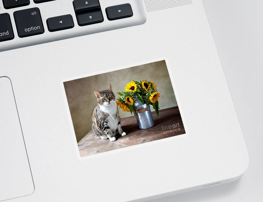 Cat Sticker featuring the painting Cat and Sunflowers by Nailia Schwarz
