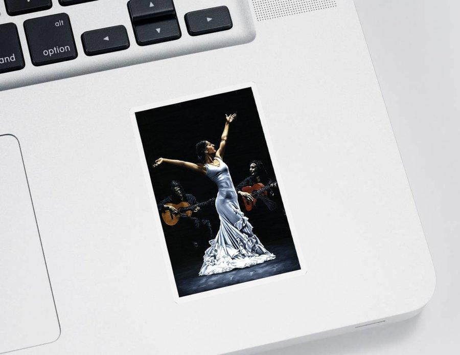 Flamenco Sticker featuring the painting Finale del Funcionamiento del Flamenco by Richard Young