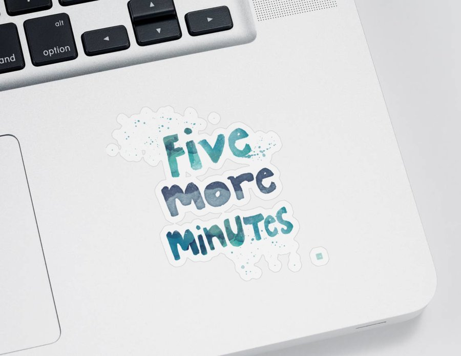 Sleep Sticker featuring the painting Five More Minutes by Linda Woods