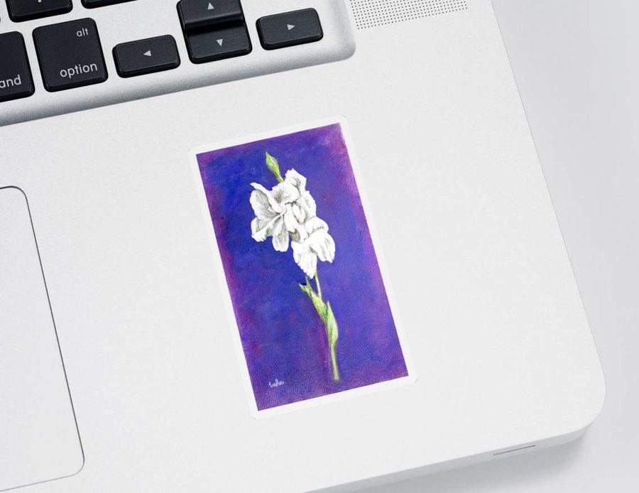 Sticker featuring the painting Gladiolus 2 by Usha Shantharam