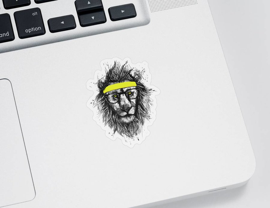 Lion Sticker featuring the drawing Hipster lion by Balazs Solti