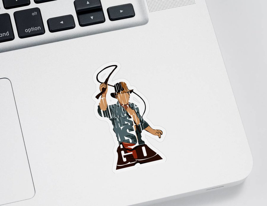 Indiana Jones Sticker featuring the painting Indiana Jones - Harrison Ford by Inspirowl Design