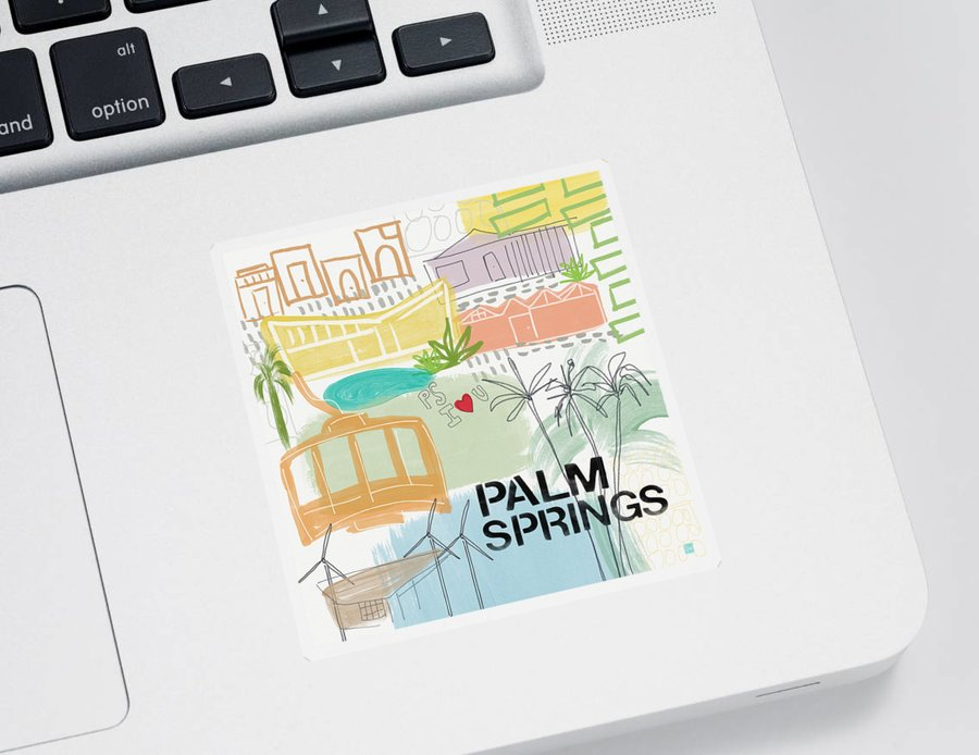 Palm Springs California Sticker featuring the painting Palm Springs Cityscape- Art by Linda Woods by Linda Woods