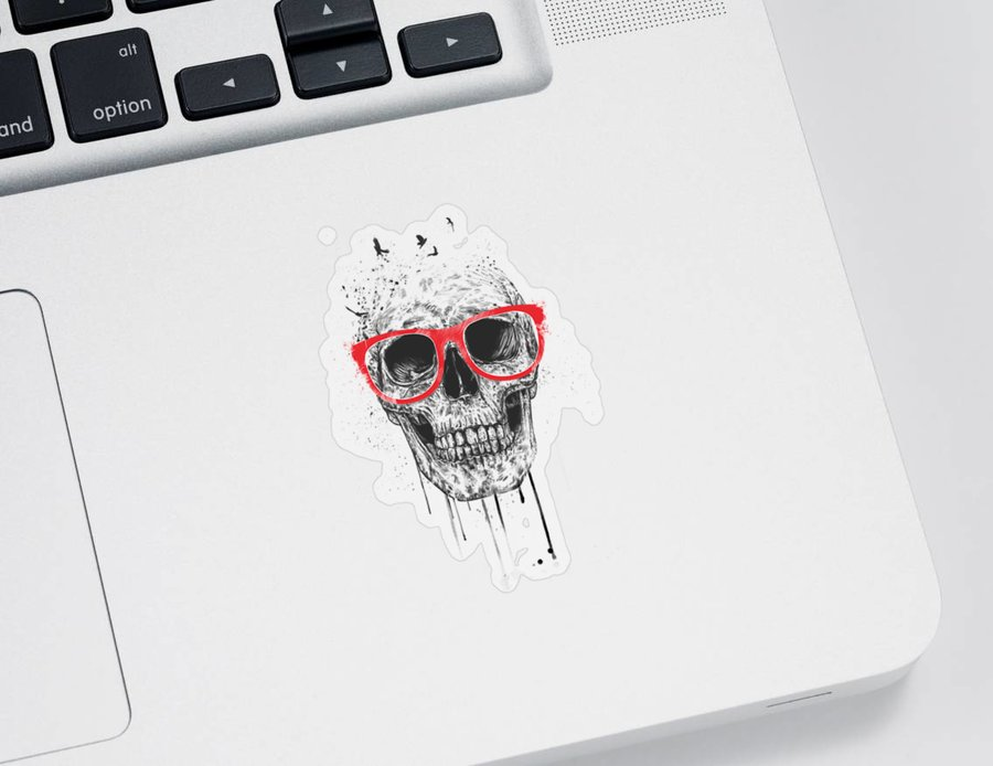Skull Sticker featuring the mixed media Skull with red glasses by Balazs Solti