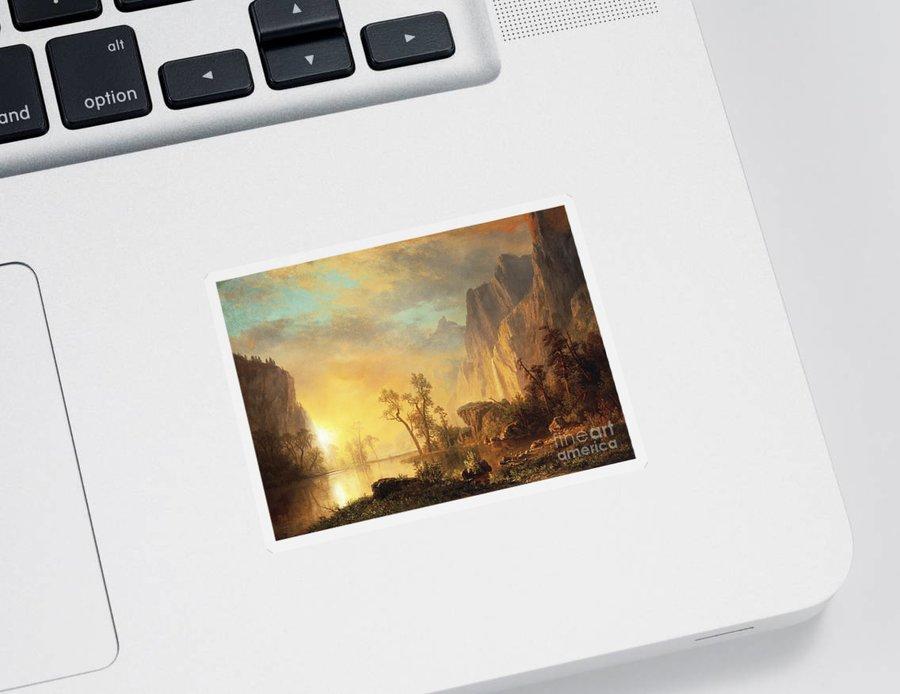 Bierstadt Sticker featuring the painting Sunset in the Rockies by Albert Bierstadt