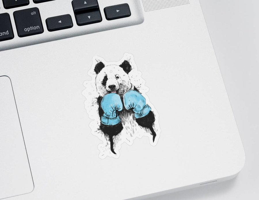 Panda Sticker featuring the digital art The Winner by Balazs Solti