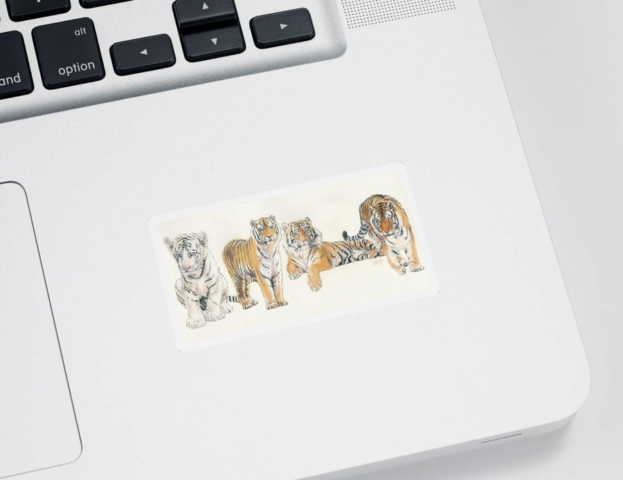 Tiger Sticker featuring the mixed media Tiger Wrap by Barbara Keith