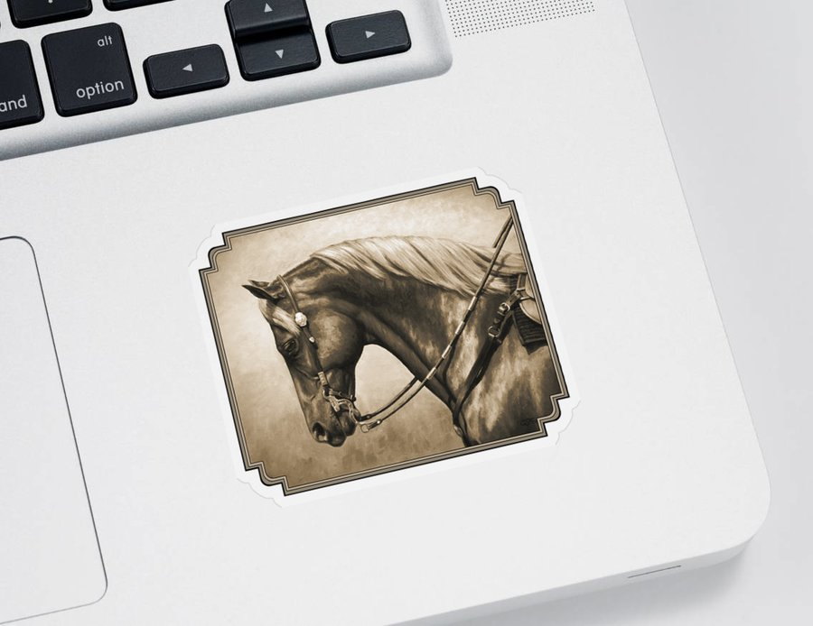 Horse Sticker featuring the painting Western Horse Painting In Sepia by Crista Forest