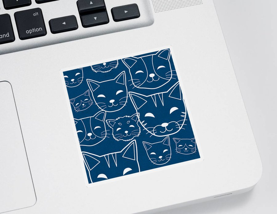 Cats Sticker featuring the digital art Cats- Art by Linda Woods by Linda Woods