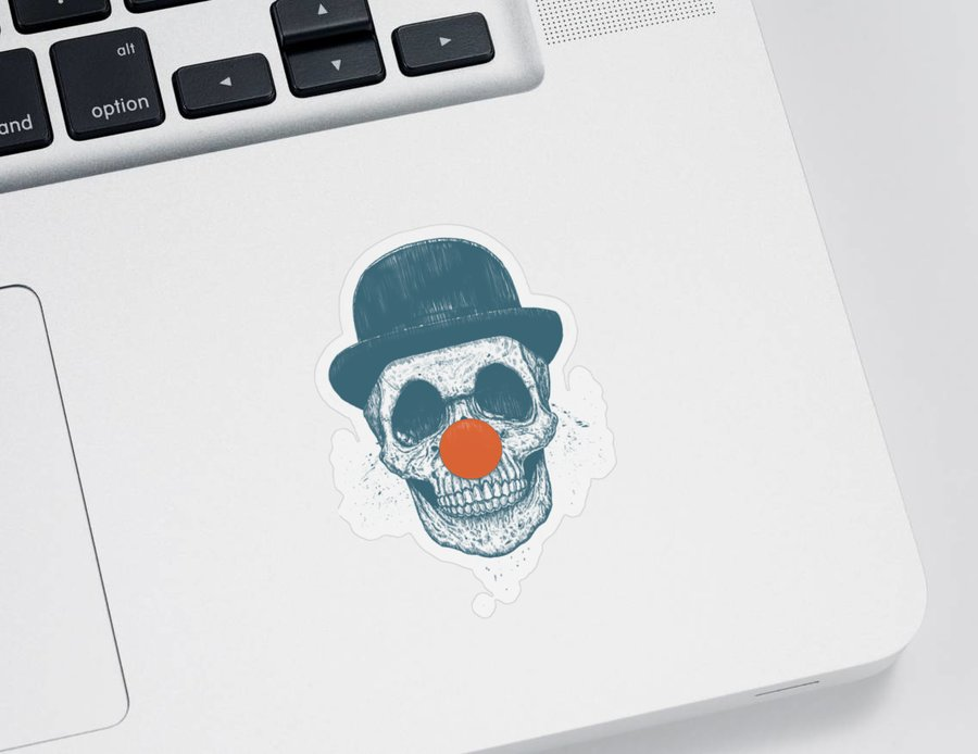 Skull Sticker featuring the drawing Dead Clown by Balazs Solti