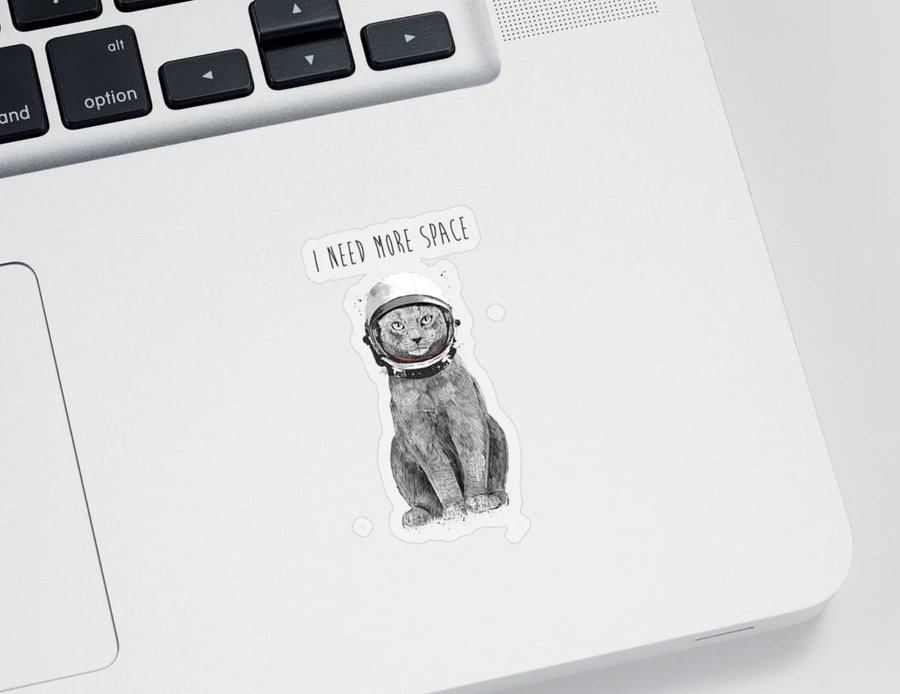 Cat Sticker featuring the drawing I need more space by Balazs Solti