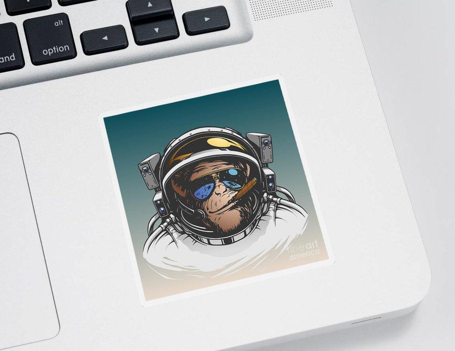 Symbol Sticker featuring the digital art Monkey Astronaut Illustration by D1sk