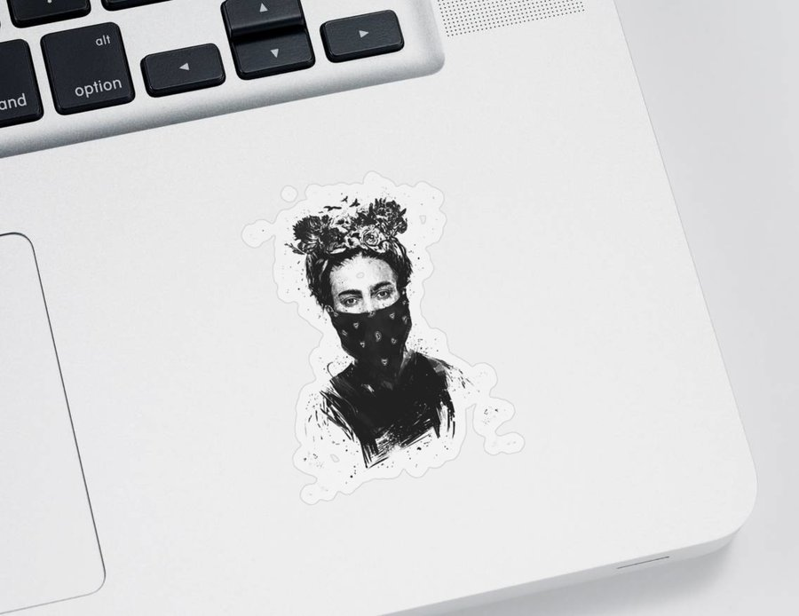 Girl Sticker featuring the drawing Rebel girl by Balazs Solti