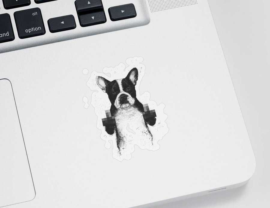 Dog Sticker featuring the mixed media Censored dog by Balazs Solti