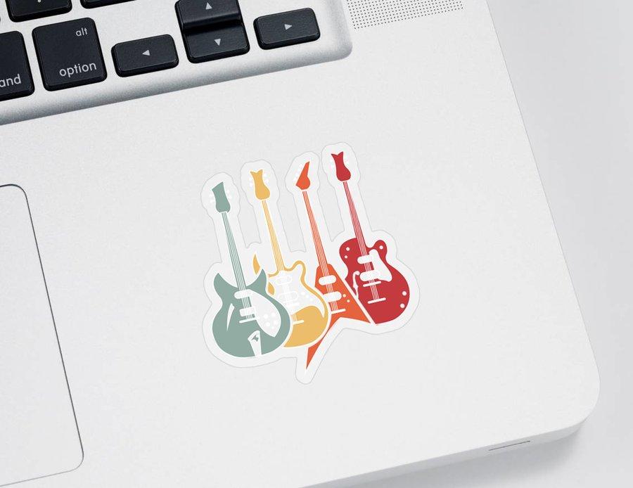 Music Sticker featuring the digital art Retro Guitars Bass Funny Guitarist Bassist Gift by J M