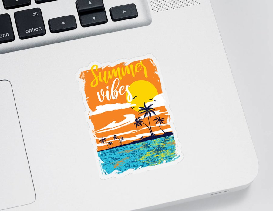 Colorful Sticker featuring the digital art Summer Vibes Tropical Sunset Palm Trees by Jacob Zelazny
