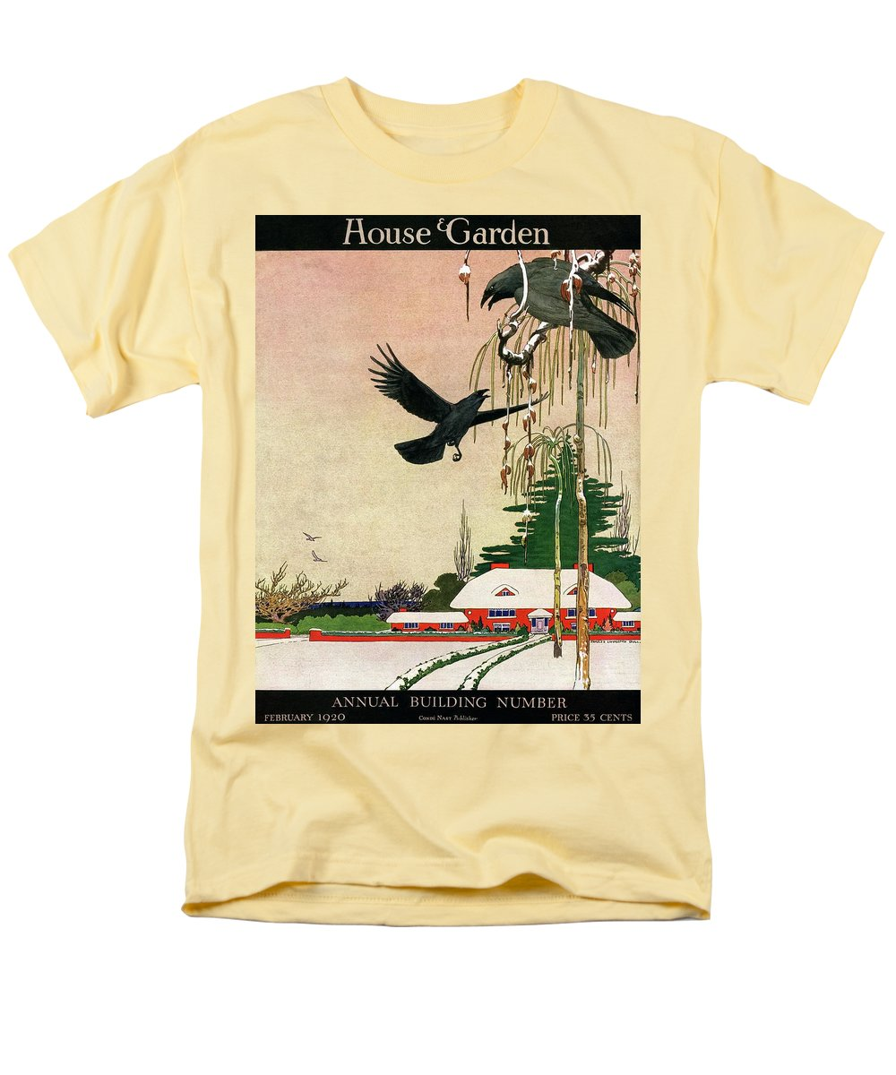 Illustration Men's T-Shirt (Regular Fit) featuring the photograph A House And Garden Cover Of Crows By A House by Charles Livingston Bull