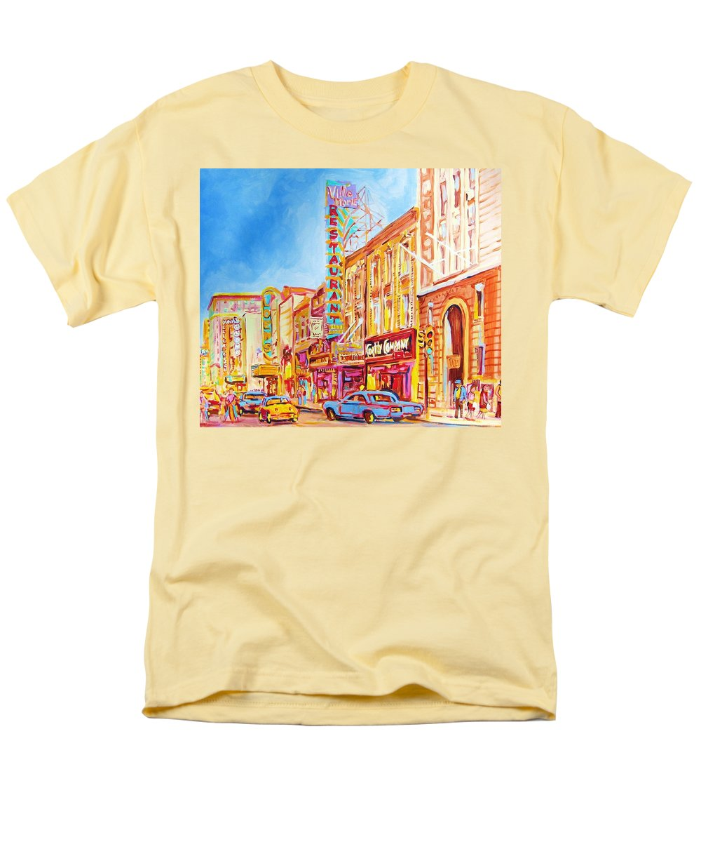 Montreal Men's T-Shirt (Regular Fit) featuring the painting Saint Catherine Street Montreal by Carole Spandau
