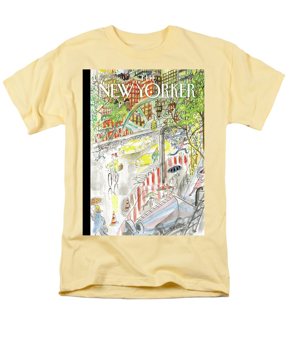 Biking In The Rain Men's T-Shirt (Regular Fit) featuring the painting Biking in the Rain by Jean-Jacques Sempe