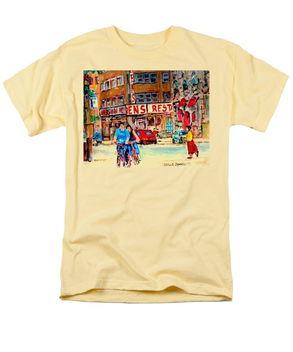 Montreal Men's T-Shirt (Regular Fit) featuring the painting Biking Past Ben by Carole Spandau