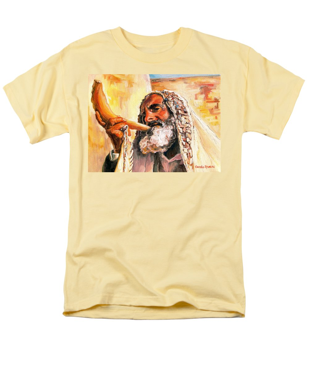 Rabbis Men's T-Shirt (Regular Fit) featuring the painting Blow The Trumpet In Zion by Carole Spandau