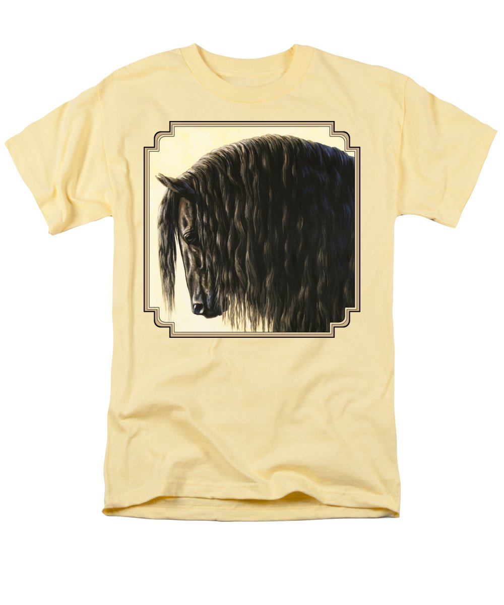 Horse Men's T-Shirt (Regular Fit) featuring the painting Horse Painting - Friesland Nobility by Crista Forest