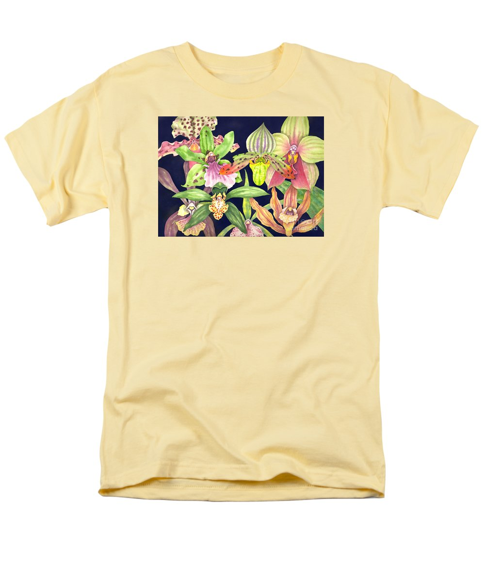 Orchids Men's T-Shirt (Regular Fit) featuring the painting Orchids by Lucy Arnold