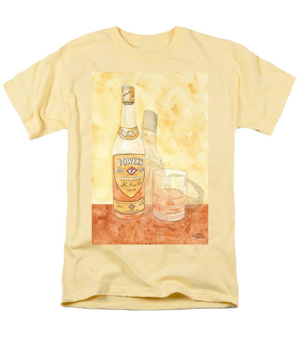 Irish Men's T-Shirt (Regular Fit) featuring the painting Powers Irish Whiskey by Ken Powers