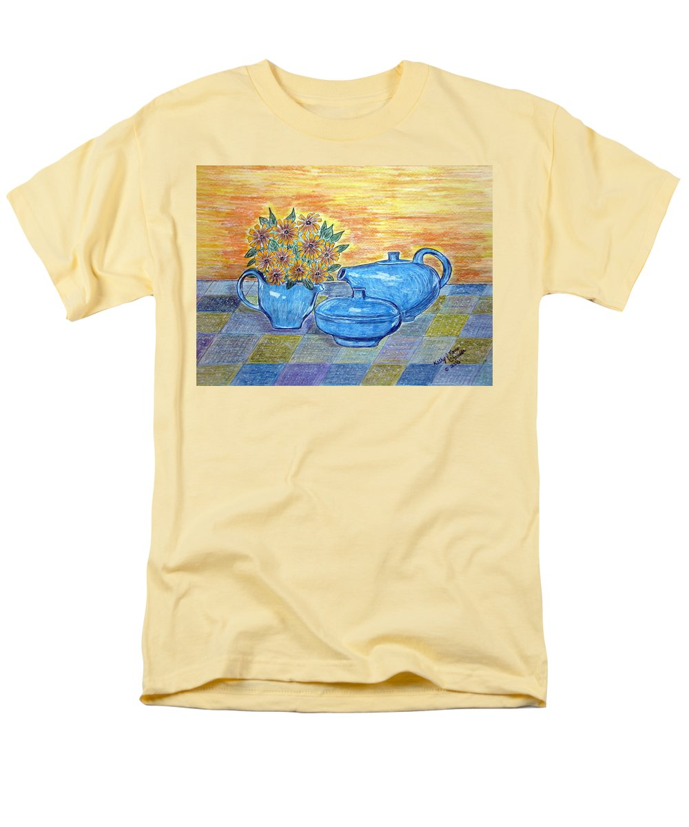 Russell Wright China Men's T-Shirt (Regular Fit) featuring the painting Russel Wright China by Kathy Marrs Chandler