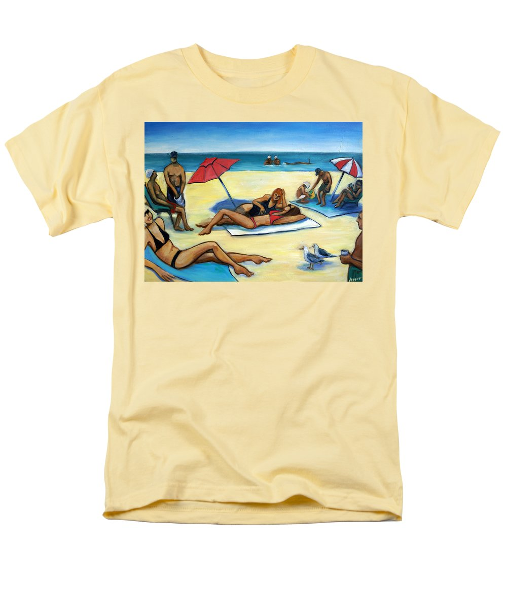 Beach Scene Men's T-Shirt (Regular Fit) featuring the painting The Beach by Valerie Vescovi