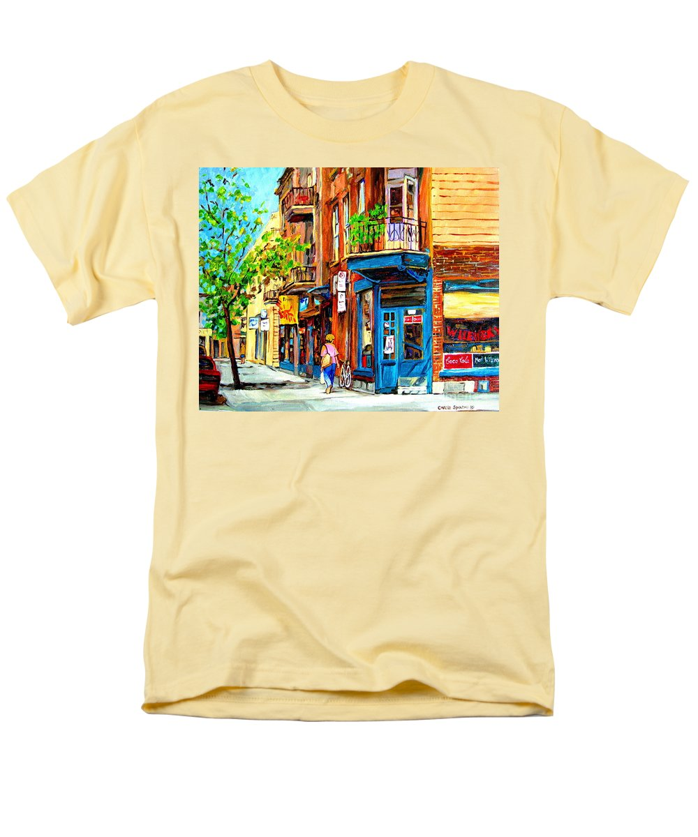 Wilenskys Men's T-Shirt (Regular Fit) featuring the painting The Lady in Pink by Carole Spandau
