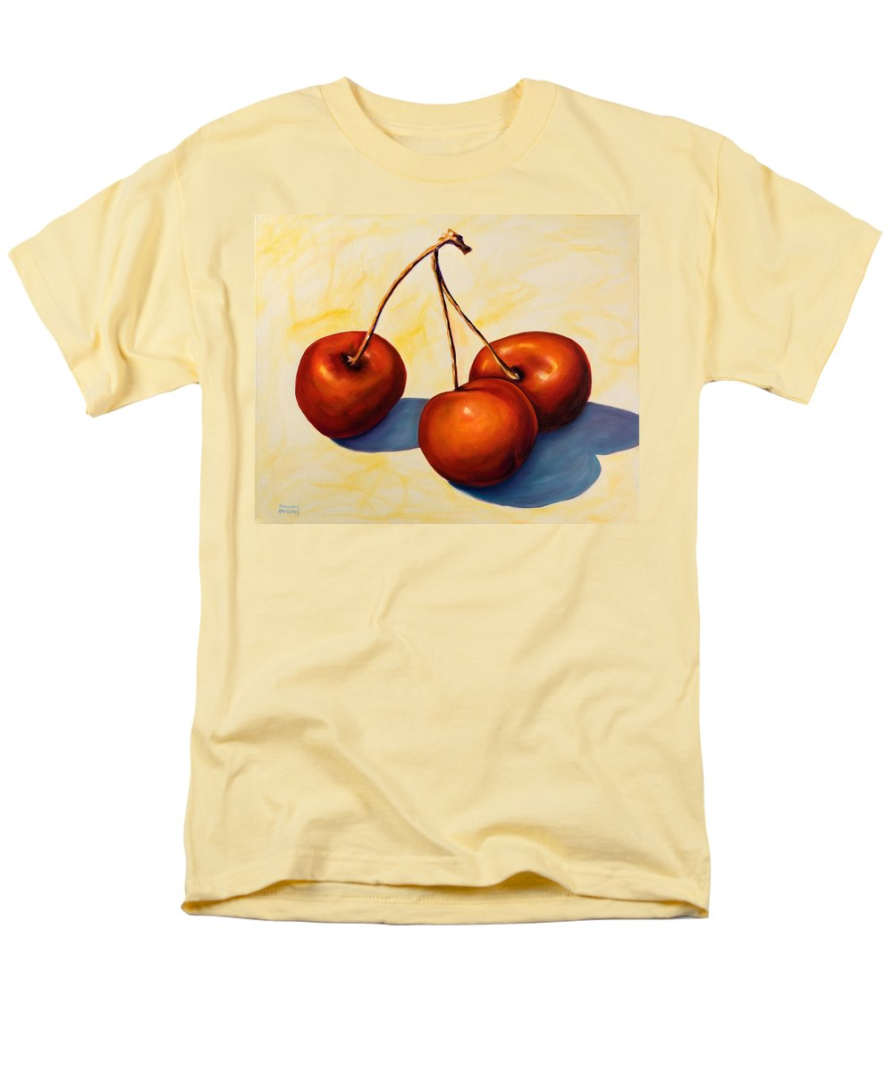 Cherries Men's T-Shirt (Regular Fit) featuring the painting Trilogy by Shannon Grissom