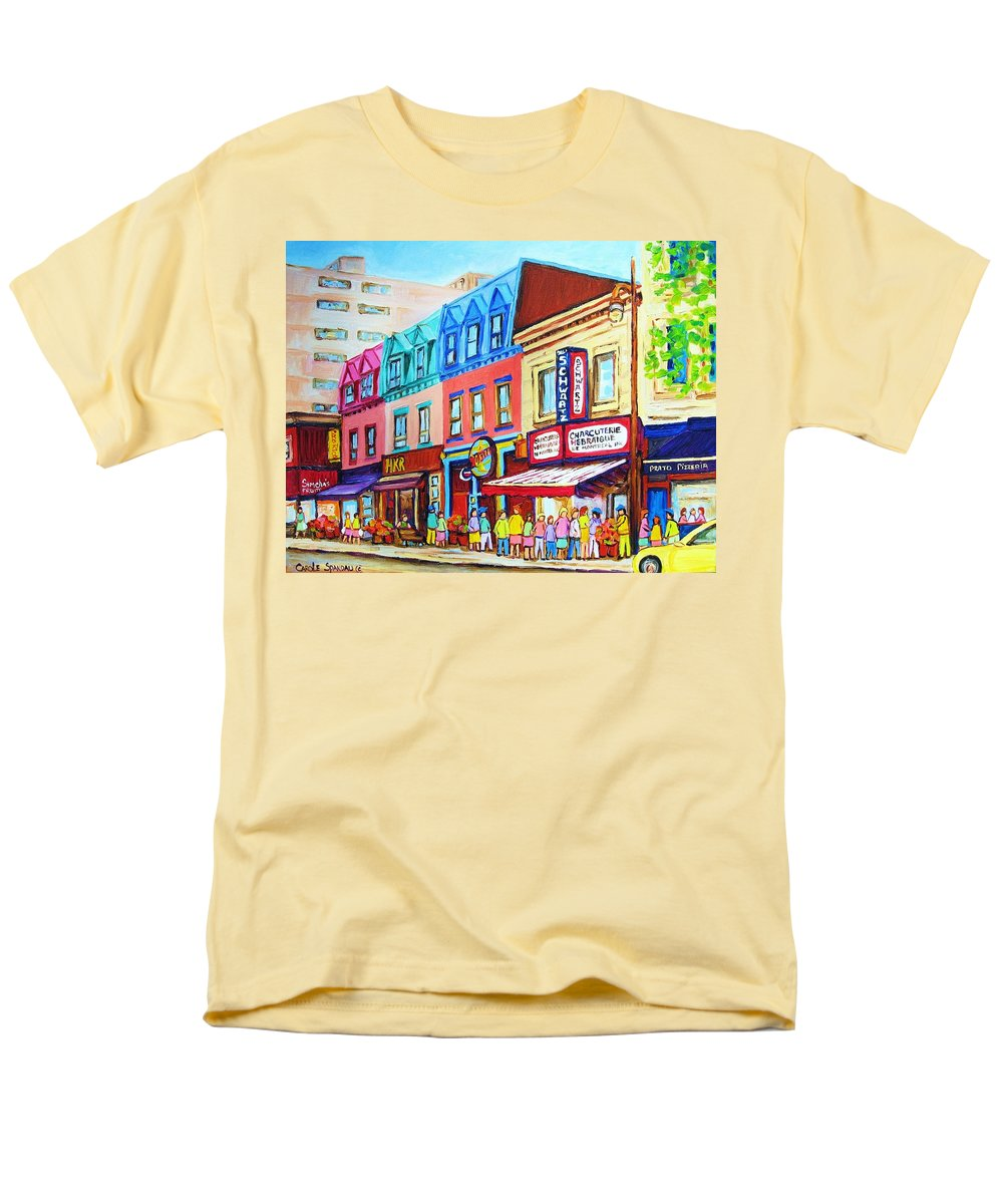 Reastarant Men's T-Shirt (Regular Fit) featuring the painting Yellow Car at the Smoked Meat Lineup by Carole Spandau